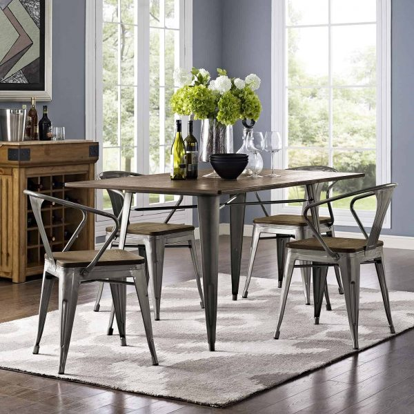 """Alacrity 59"""" Rectangle Wood Dining Table in Brown"""