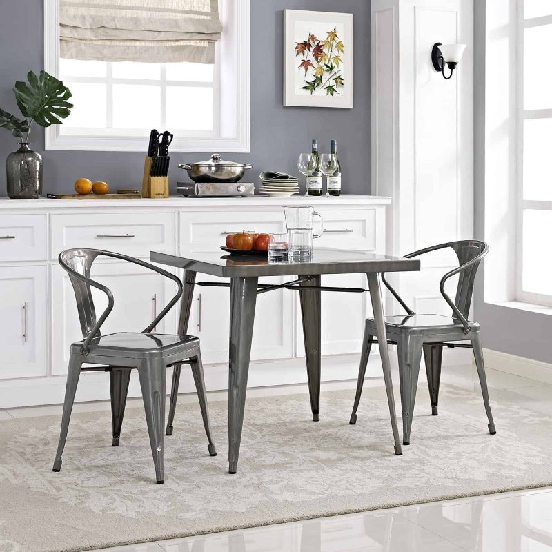 Alacrity Square Metal Dining Table in Gunmetal