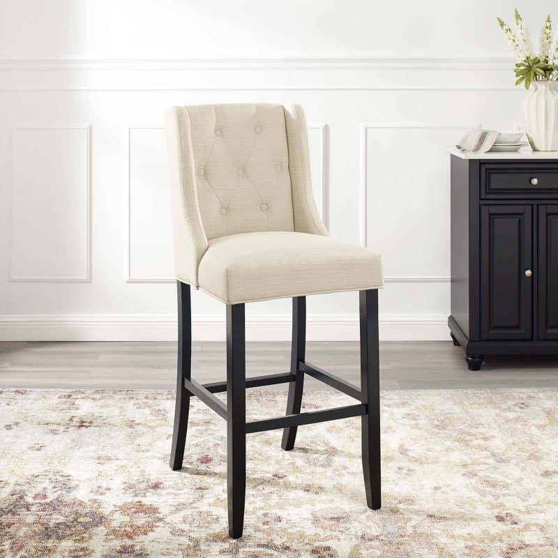Baronet Tufted Button Upholstered Fabric Bar Stool in Beige