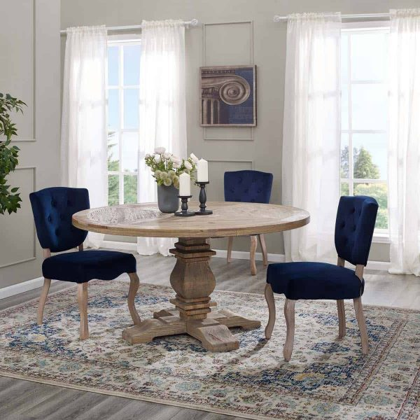 """Column 59"""" Round Pine Wood Dining Table in Brown"""