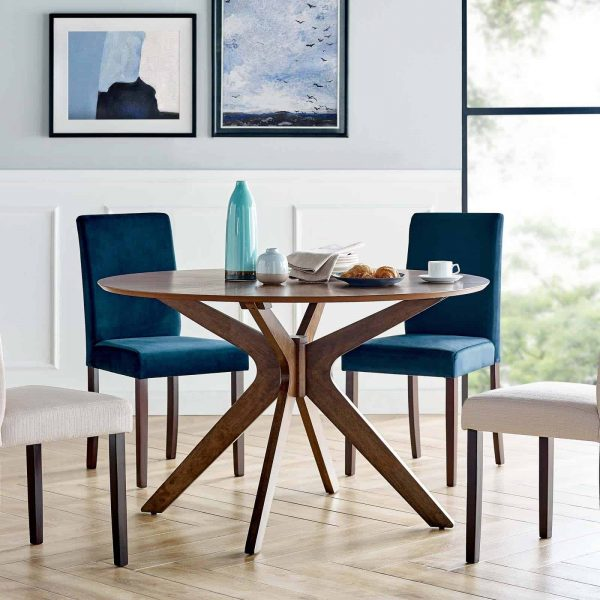 """Crossroads 47"""" Round Wood Dining Table in Walnut"""