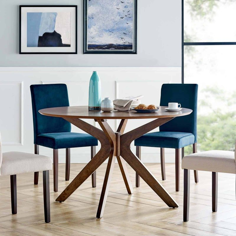 "Crossroads 47"" Round Wood Dining Table in Walnut"