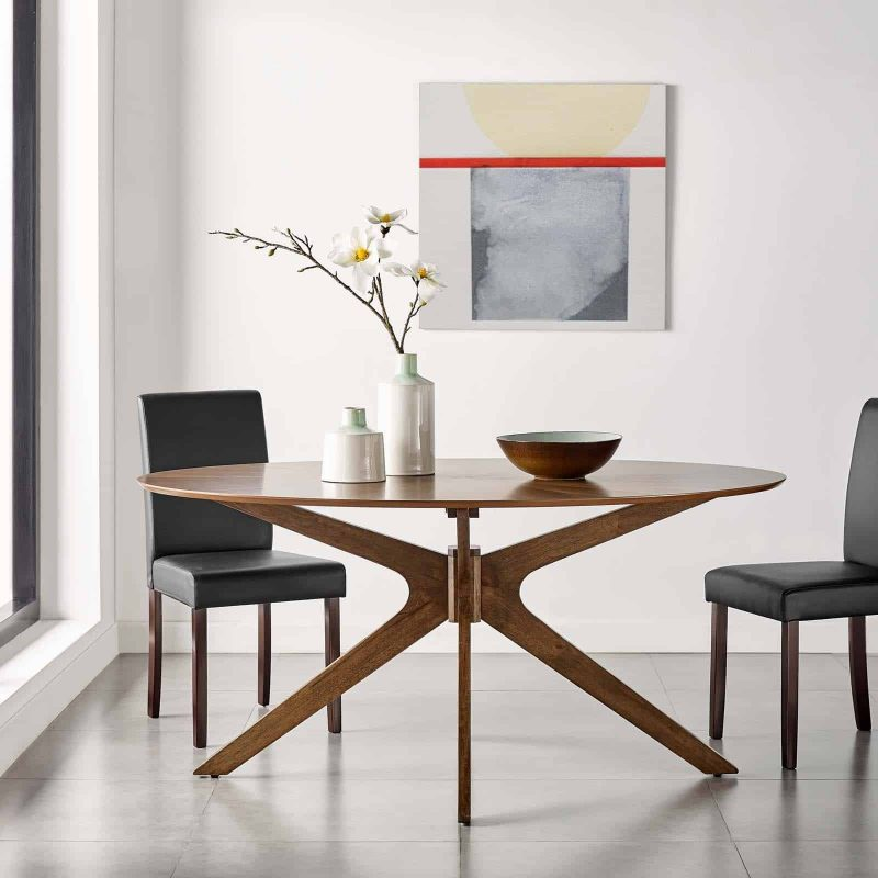 "Crossroads 63"" Oval Wood Dining Table in Walnut"