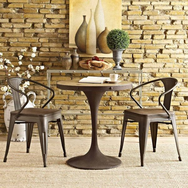 """Drive 28"""" Round Wood Top Dining Table in Brown"""