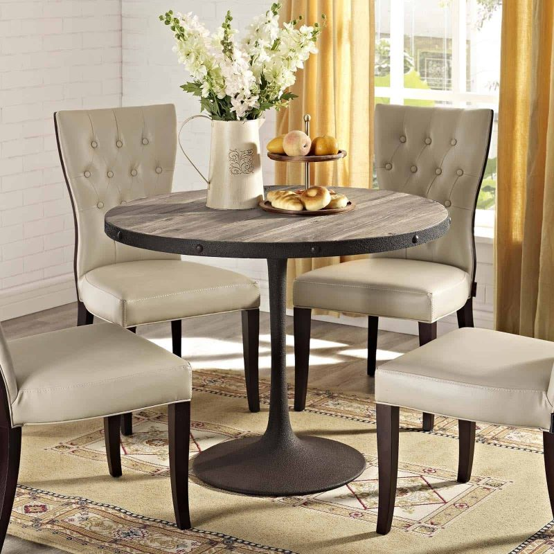 """Drive 40"""" Round Wood Top Dining Table in Brown"""