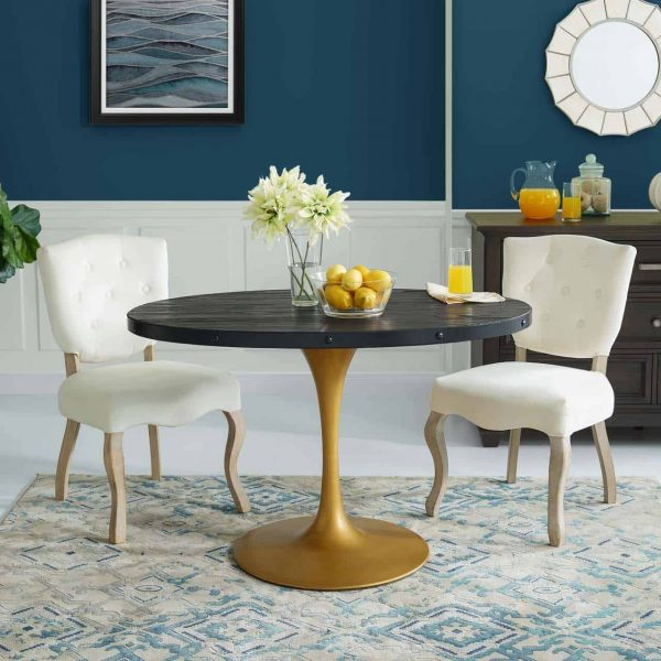 """Drive 47"""" Oval Wood Top Dining Table in Black Gold"""