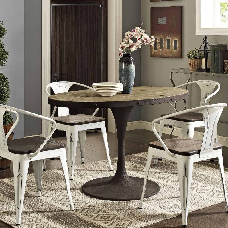 """Drive 47"""" Oval Wood Top Dining Table in Brown"""