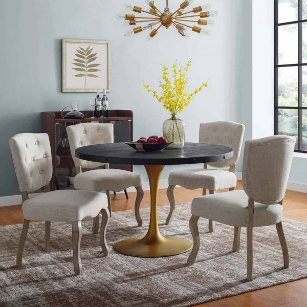 """Drive 48"""" Round Wood Top Dining Table in Black Gold"""