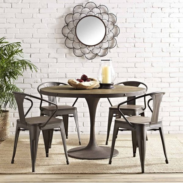 """Drive 48"""" Round Wood Top Dining Table in Brown"""