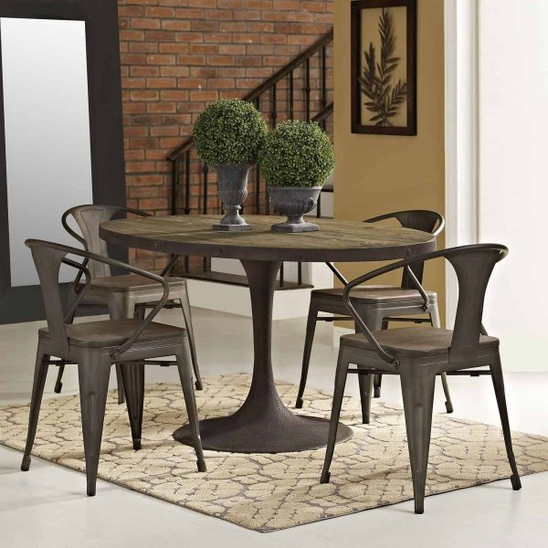 """Drive 60"""" Oval Wood Top Dining Table in Brown"""