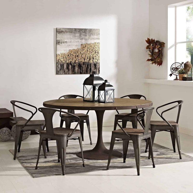 """Drive 60"""" Round Wood Top Dining Table in Brown"""