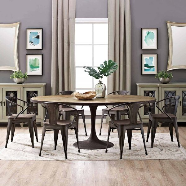 """Drive 78"""" Oval Wood Top Dining Table in Brown"""