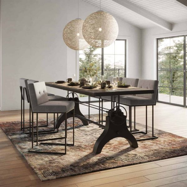 """Genuine 96"""" Crank Height Adjustable Rectangle Dining and Conference Table in Black"""