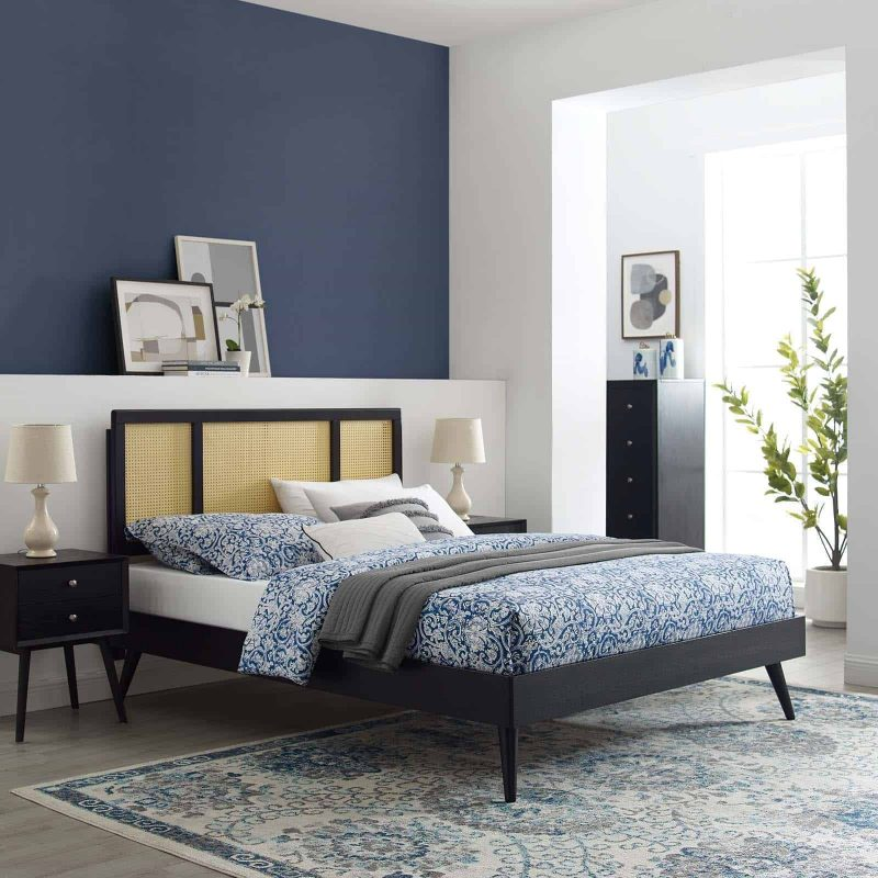 Kelsea Cane and Wood King Platform Bed With Splayed Legs in Black