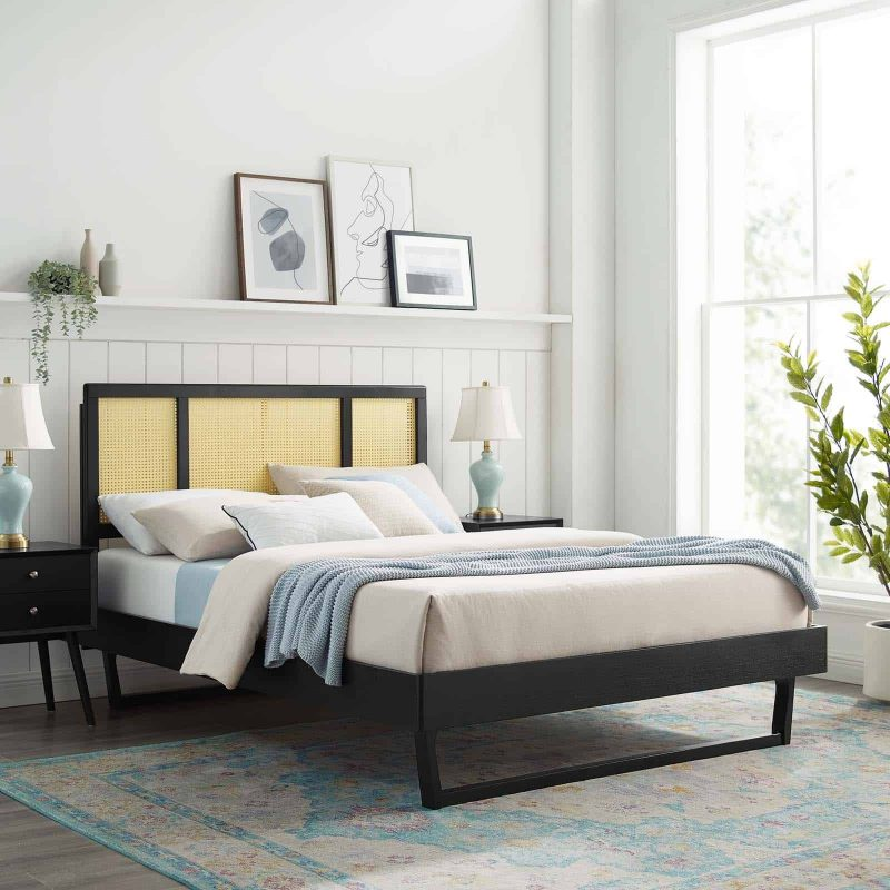 Kelsea Cane and Wood Queen Platform Bed With Angular Legs in Black