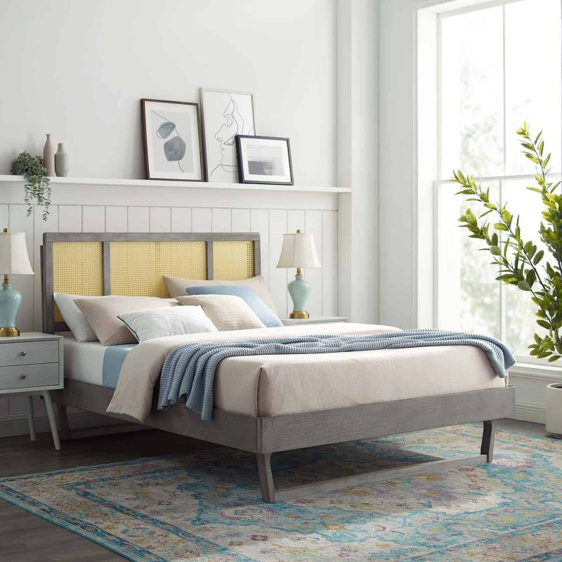 Kelsea Cane and Wood Queen Platform Bed With Angular Legs in Gray