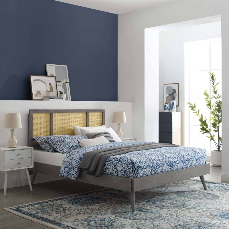 Kelsea Cane and Wood Queen Platform Bed With Splayed Legs in Gray