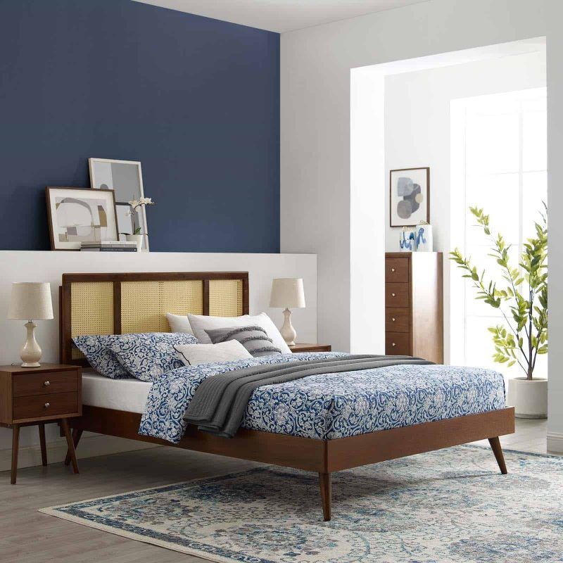 Kelsea Cane and Wood Queen Platform Bed With Splayed Legs in Walnut
