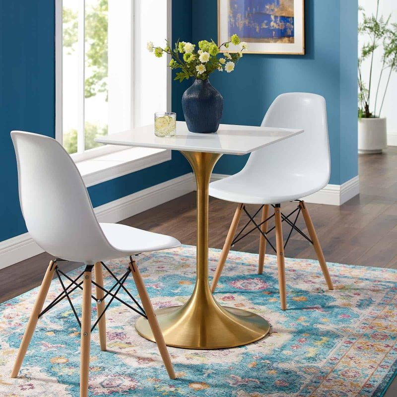 """Lippa 24"""" Square Wood Top Dining Table in Gold White"""