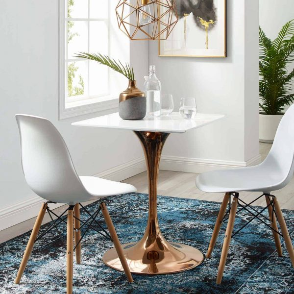 """Lippa 24"""" Square Wood Top Dining Table in Rose White"""