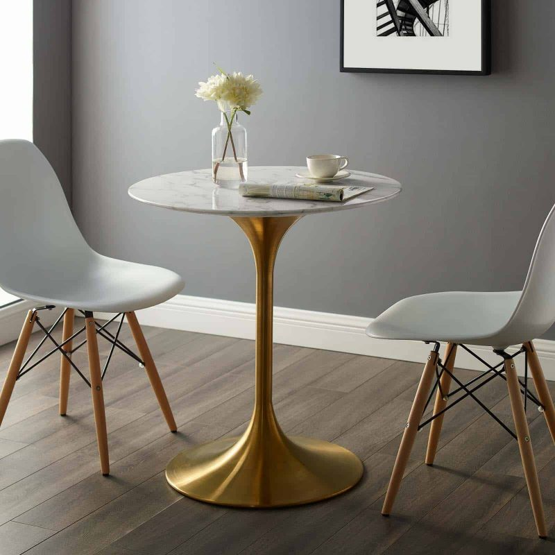 """Lippa 28"""" Round Artificial Marble Dining Table in Gold White"""