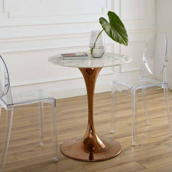 """Lippa 28"""" Round Artificial Marble Dining Table in Rose White"""