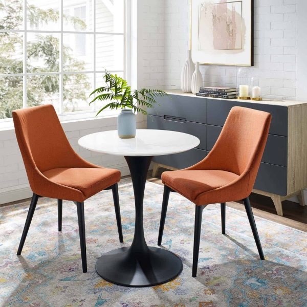 """Lippa 28"""" Round Wood Dining Table in Black White"""