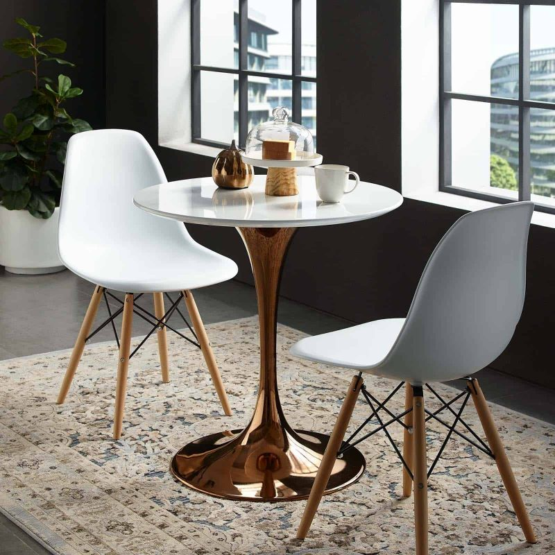 """Lippa 28"""" Round Wood Top Dining Table in Rose White"""