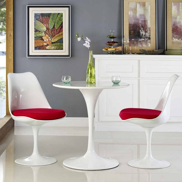 """Lippa 28"""" Round Wood Top Dining Table in White"""