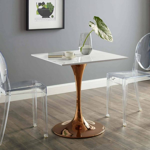 """Lippa 28"""" Square Wood Top Dining Table in Rose White"""