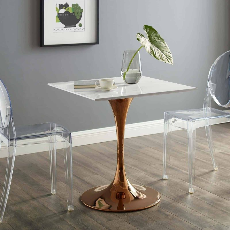 "Lippa 28"" Square Wood Top Dining Table in Rose White"