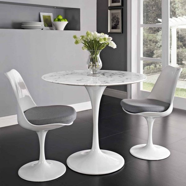 """Lippa 36"""" Round Artificial Marble Dining Table in White"""