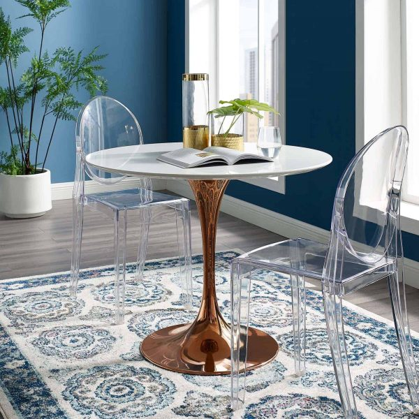 """Lippa 36"""" Round Wood Dining Table in Rose White"""