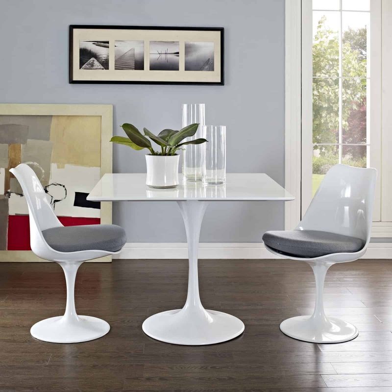 """Lippa 36"""" Square Wood Top Dining Table in White"""