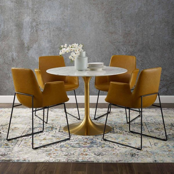 """Lippa 40"""" Round Artificial Marble Dining Table in Gold White"""