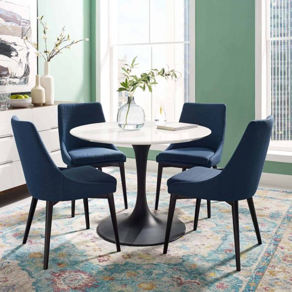 """Lippa 40"""" Round Wood Dining Table in Black White"""