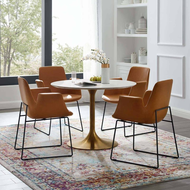 """Lippa 40"""" Round Wood Dining Table in Gold White"""