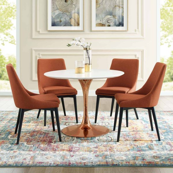 """Lippa 40"""" Round Wood Dining Table in Rose White"""