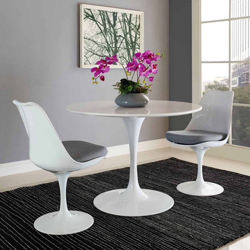 "Lippa 40"" Round Wood Top Dining Table in White"