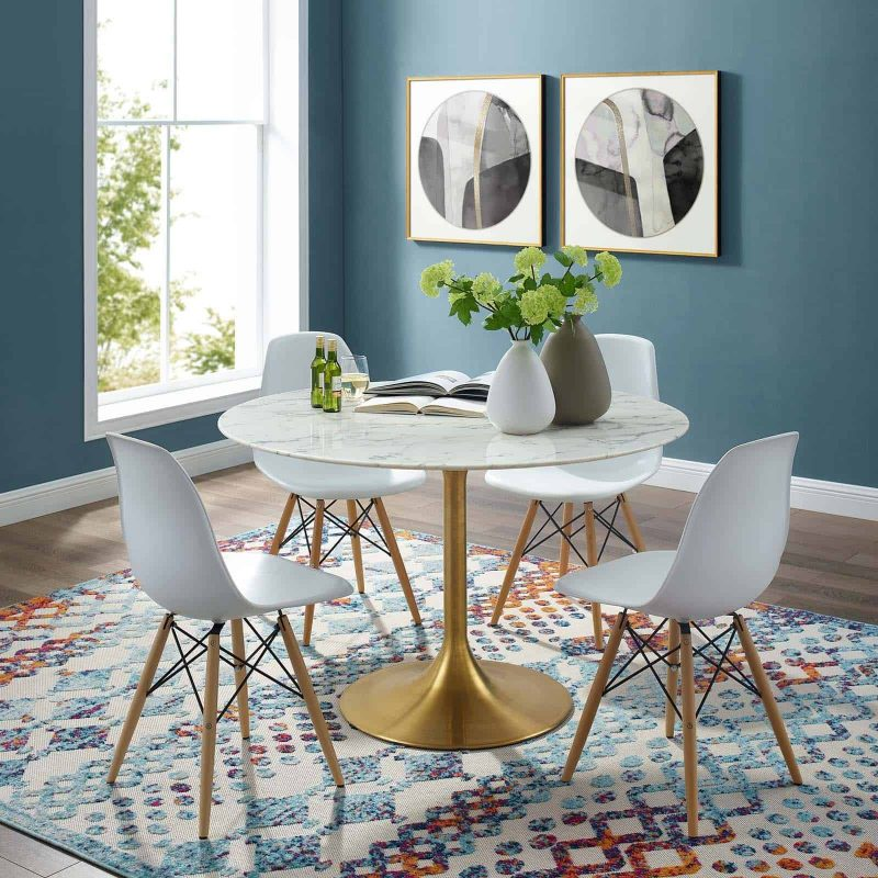 """Lippa 47"""" Round Artificial Marble Dining Table in Gold White"""