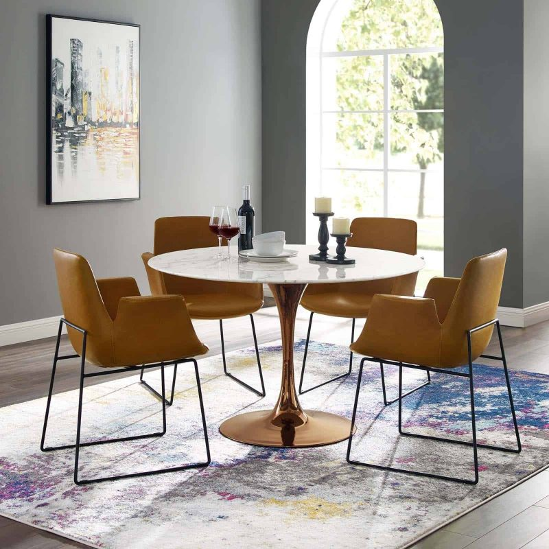 """Lippa 47"""" Round Artificial Marble Dining Table in Rose White"""
