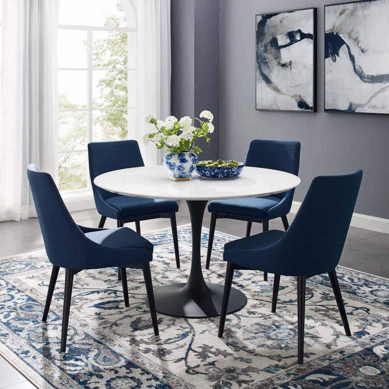 """Lippa 47"""" Round Wood Dining Table in Black White"""