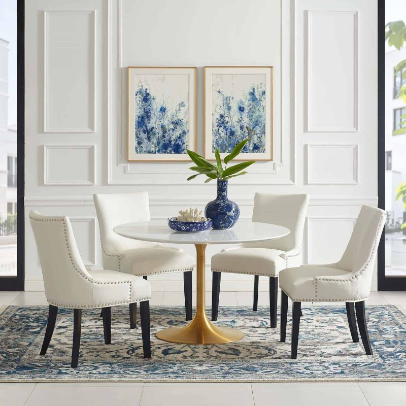 """Lippa 47"""" Round Wood Dining Table in Gold White"""
