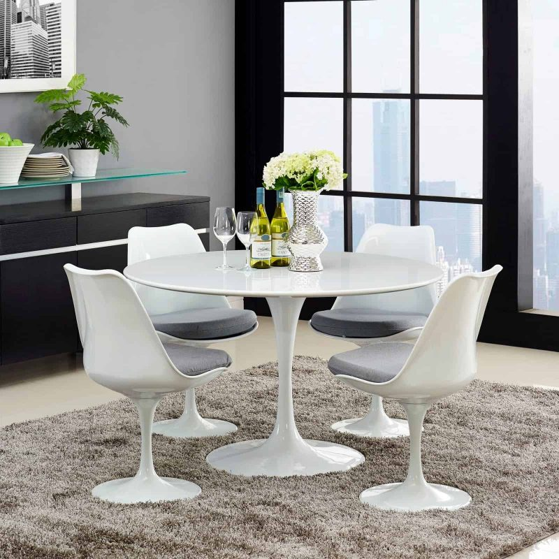 "Lippa 47"" Round Wood Top Dining Table in White"