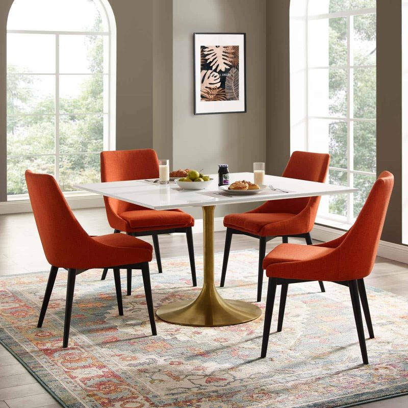 """Lippa 47"""" Square Wood Top Dining Table in Gold White"""
