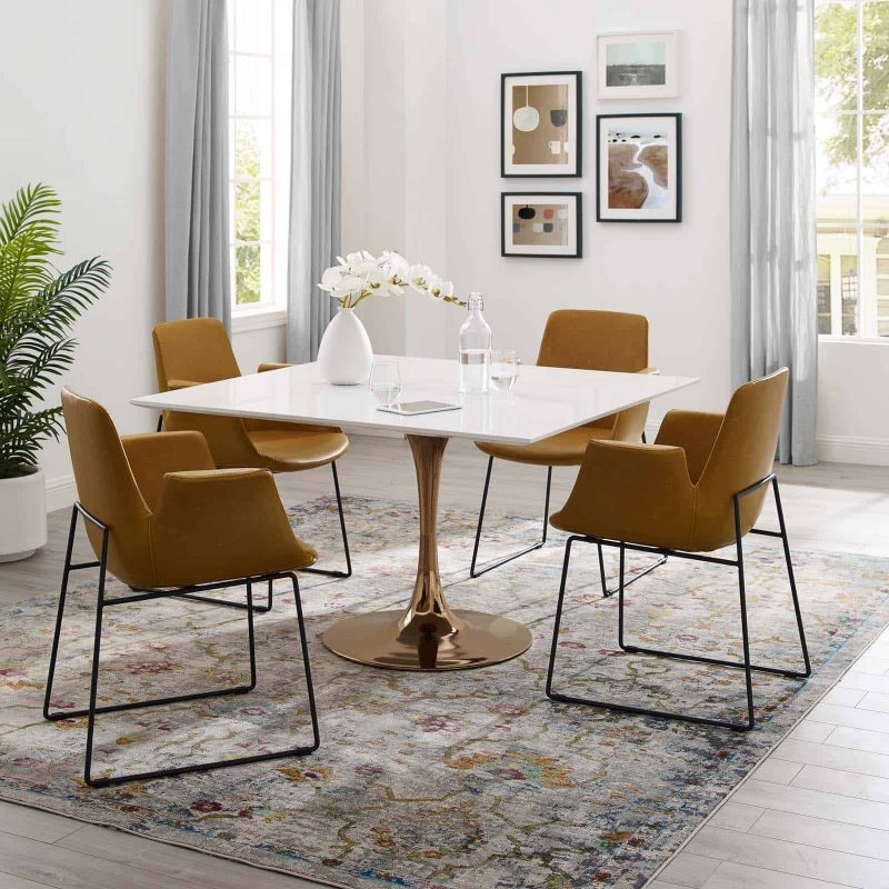 """Lippa 47"""" Square Wood Top Dining Table in Rose White"""