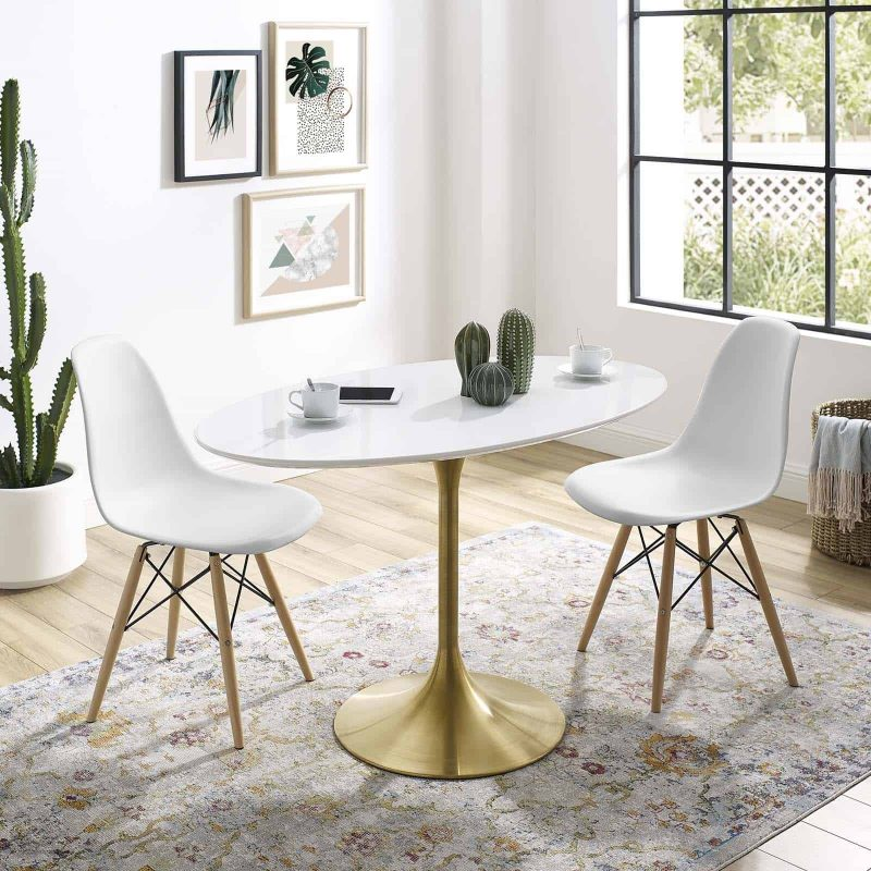 """Lippa 48"""" Oval Wood Dining Table in Gold White"""