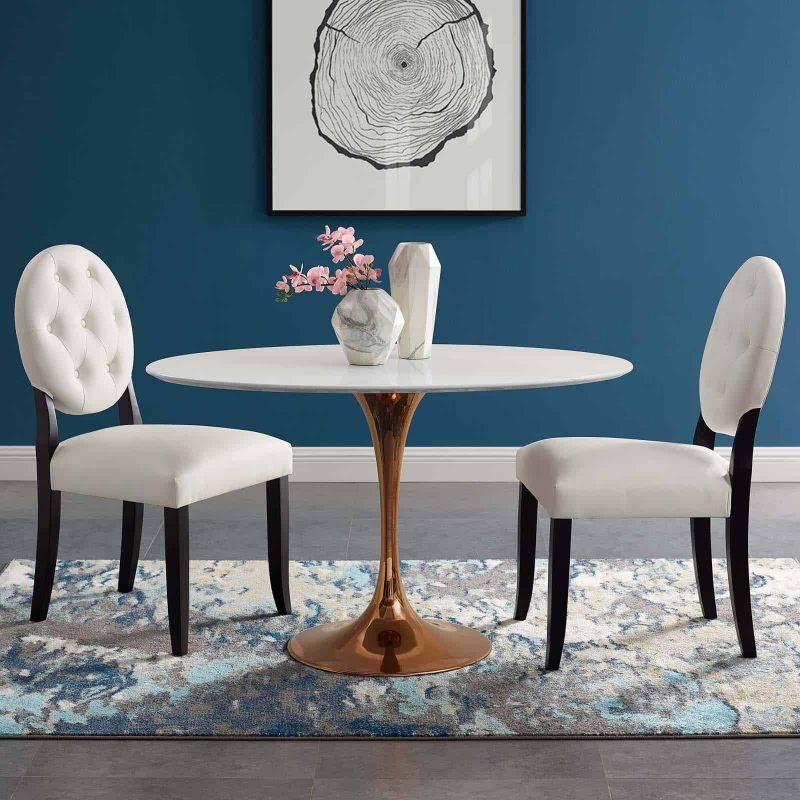 """Lippa 48"""" Oval Wood Dining Table in Rose White"""