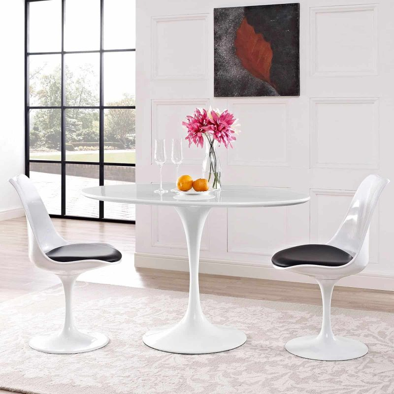 "Lippa 48"" Oval Wood Top Dining Table in White"