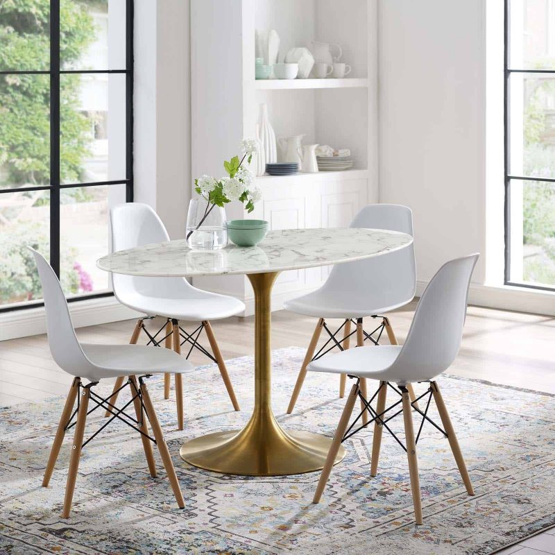 """Lippa 54"""" Oval Artificial Marble Dining Table in Gold White"""
